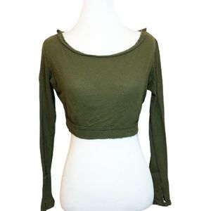 Free People Movement Green Long Sleeve Wrap Crop